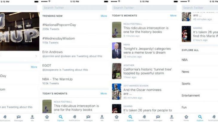 """Twitter zëvendëson seksionin """"Moments"""" me """"Explore"""""""