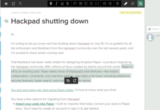 Dropbox mbyll Hackpad më 19 Korrik, nxit përdoruesit për në aplikacionin Paper