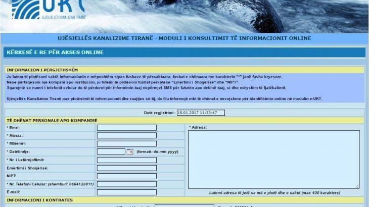 Ujësjellës Kanalizime Tirana lançon platformën elektronike për kontrollin e faturës online