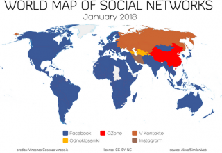 Harta globale e rrjeteve sociale, Facebook më i preferuari në Shqipëri