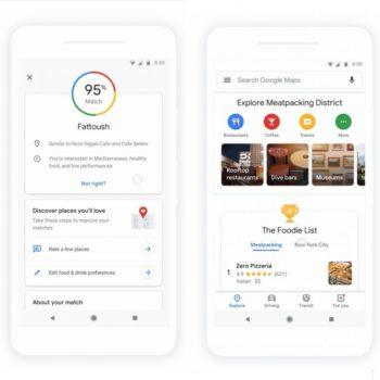 Google Maps ridizenjon seksionin Explore për të lehtësuar gjetjen e restoranteve