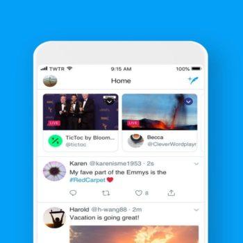 Twitter shfaq transmetimet live në krye të kohështrirjes