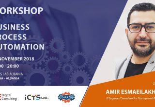 "Garazh organizon në ICTSlab workshopin ""Business Process Automation"" me të ftuar Amir Mohammad Esmaeilakhtar"