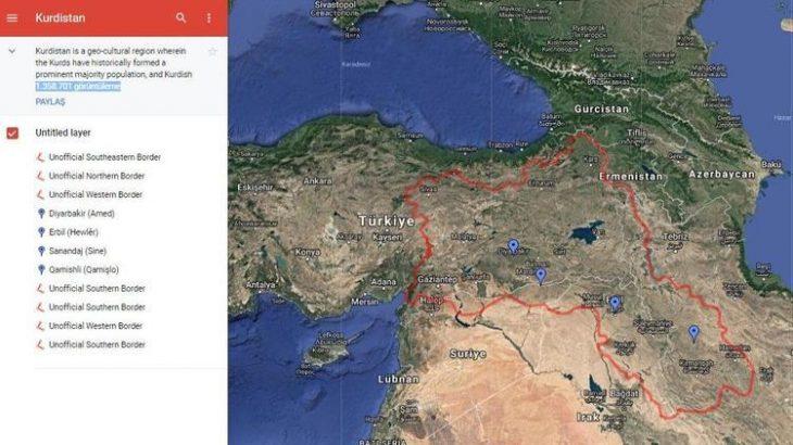 Google heq një hartë të Kurdistanit nga shërbimi i hartave Maps