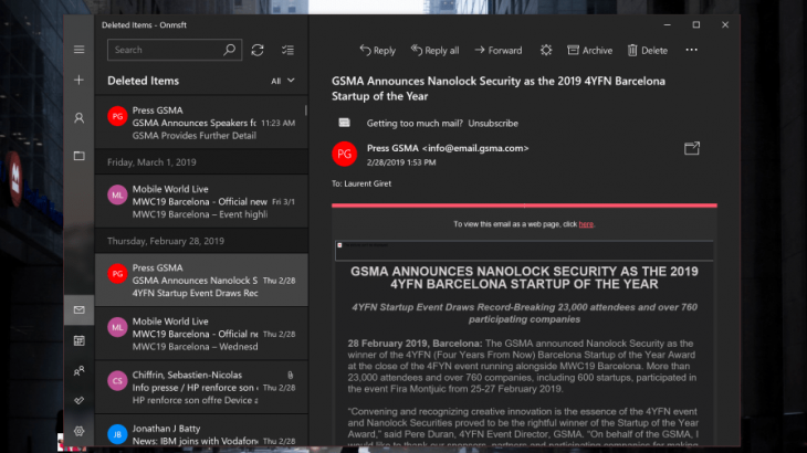 "Aplikacioni Mail në Windows 10 pajiset me ""Dark Mode"""