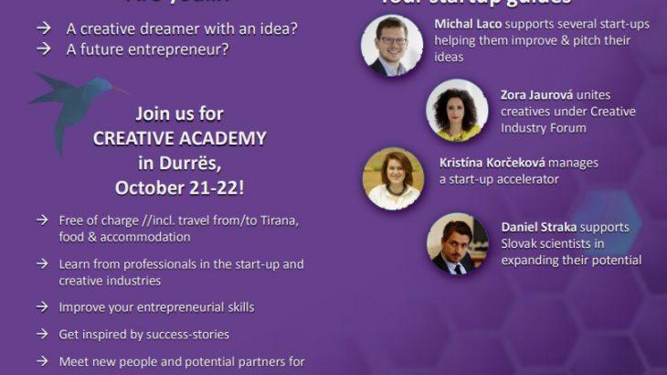 Inspirohuni nga histori suksesi në Akademinë Kreative më 21-22 Tetor në qytetin e Durrësit