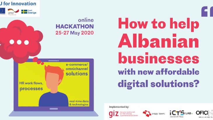 Ekipe studentësh nga universitete, start-upe dhe inovatorë takohen virtualisht për të krijuar zgjidhje për nevojat e sfidat reale të bizneseve shqiptare