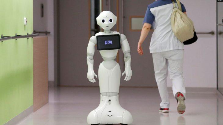 Një robot që paralajmëron njerëzit të mbajnë maskën