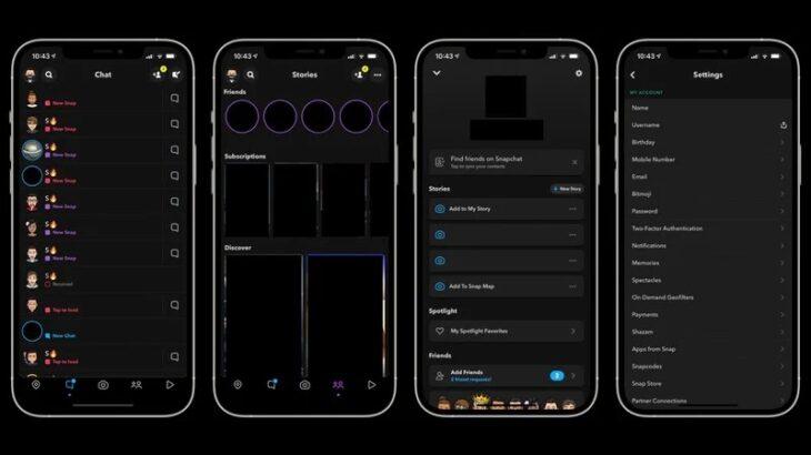 Pas vitesh pritjeje Snapchat lançon Dark Mode