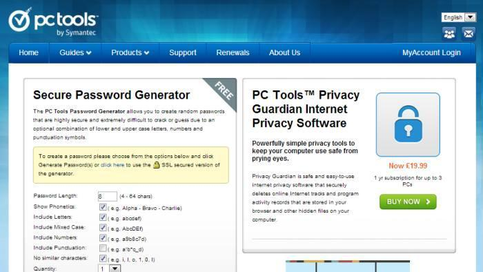 2. PC Tools Password Generator by Symantec