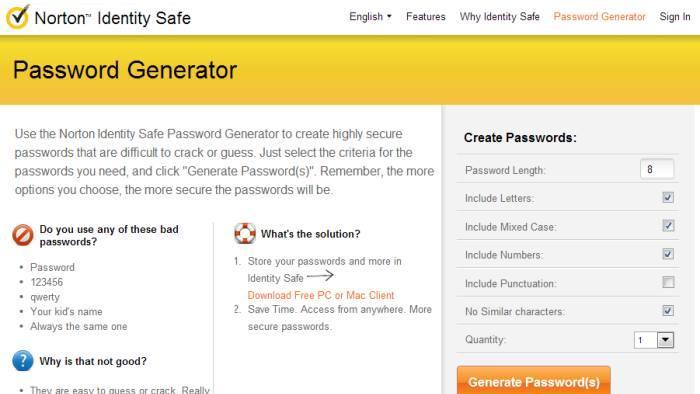 4. Norton Identity Safe Password Generator