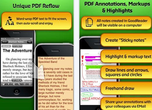 GoodReader: lexues PDF